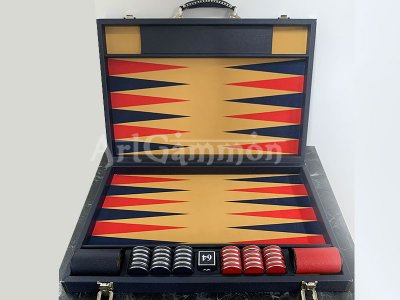 Competition Size Backgammon Set & ZMK Checkers Leather Wrapped