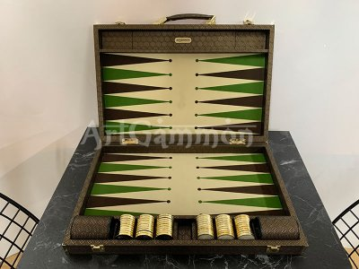 Travel Size Backgammon Board/40mm Brass rimmed Checkers