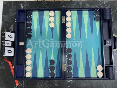 Tournament Size Wood Blue&Metal Checkers