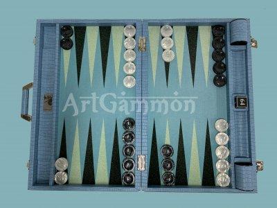 Competition Size Backgammon Set  Blue Croco Set