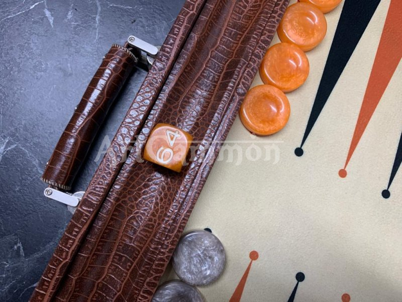 Long Size Backgammon Board Brown Croco