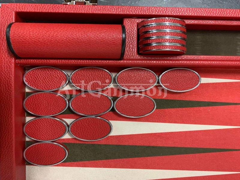 Chrome Plated Backgammon Checkers Leather